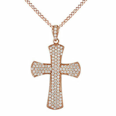 "Cubic Zirconia Cross Pendant w/18 "" Chain 18k Rose Gold Over Sterling Silver"
