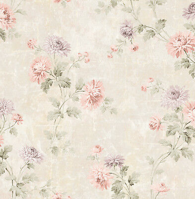 Lovely Romantic Vintage Dahlia Gold Pink Green Lilac Double Roll Wallpaper