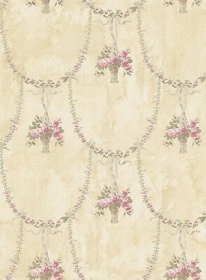 Luscious Heaven Peony Garland Marble Cream Gold Pink Green Double Roll Wallpaper