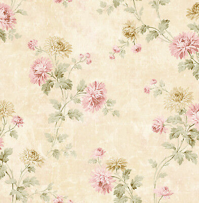 Lovely Romantic Vintage Dahlia Gold Pink Green Sparkle Double Roll Wallpaper