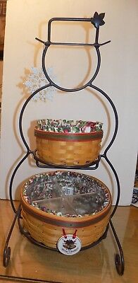 Longaberger Wrought Iron Snowman with 2 Baskets, Liners & Protectors w/Tie On