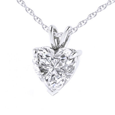 "Cubic Zirconia Solitaire Pendant w/18"" Chain 14k White Gold Over Sterling Silver"