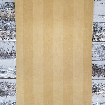 6 ROLL LOT - Tan Yellow and Gold Awning Stripe Cottage Chic Wallpaper Diy