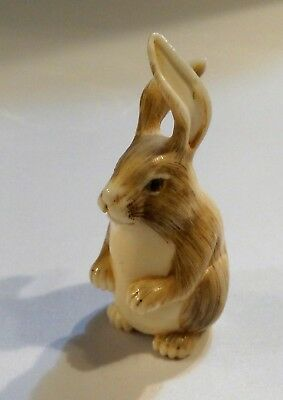 Antique Japanese Stag Antler Carved Rabbit Netsuke Signed Inlaid Eyes