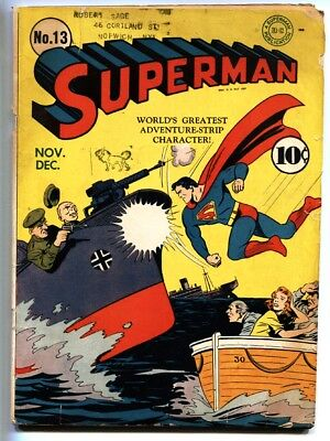 Superman #13 1941-WWII cover-Golden-Age comic book