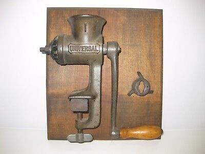 Vintage Universal Meat Food Grinder Wall Decoration Mounted On Wood