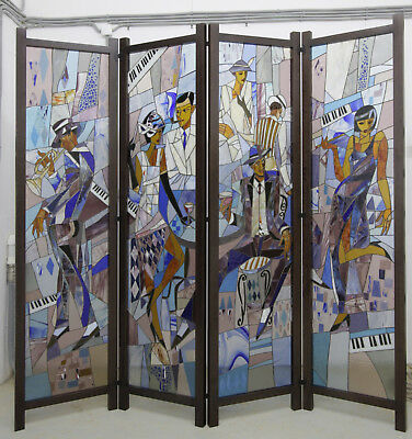 "Stained Glass Windows Russia folding screen original art 2000's 79"" x 79"" fusing"