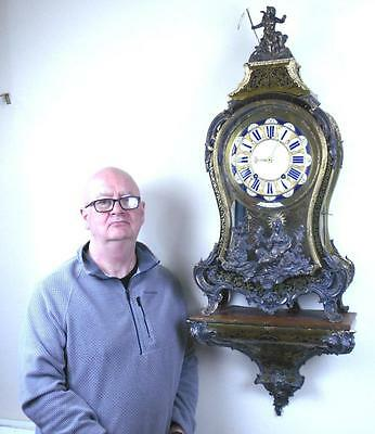 REDUCED Monumental 18th C French Boulle Louis XV Console Clock
