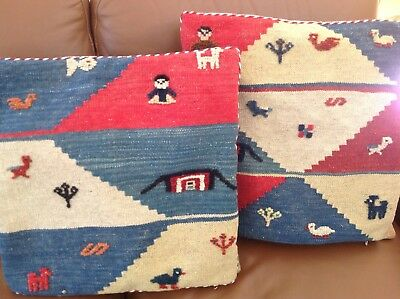 """Pair ofUnique Vintage Ethnic Handmade Woven Wool Pillow Covers - 17"""""""