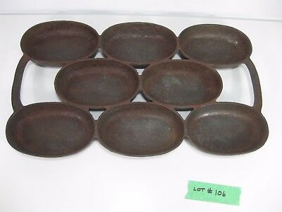 """Antique Cast Iron Oval Muffin Biscuit Kitchen Cookware Pan Mold 12 3/4"""" X 7 1/2"""""""