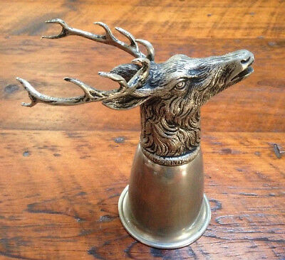 Vintage Genuine Gucci Made In Italy Silver Pewter Stag Head Hunting Stirrup Cup