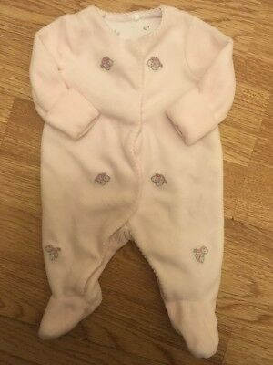 Mothercare Baby Girls Premature / Tiny Baby Velour Embroidered Bird Sleepsuit