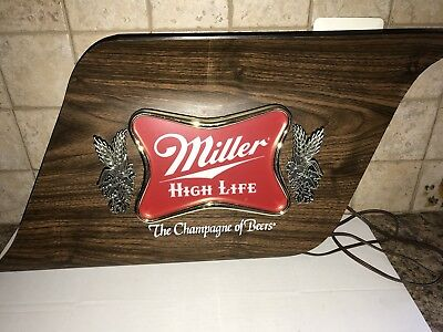 Vintage Miller High Life The Champagne of Beer Sign light works 1970s