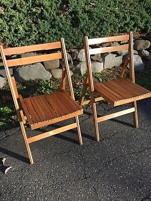 Pair of vintage wooden slat Blonde Maple folding chairs EXTRA SEATING