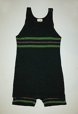 Great old antique vtg 1930s Bathing Suit Swimming Long Leg Wool Knit Early Swim