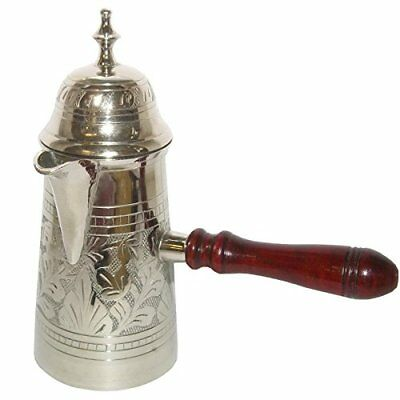 Silver Turkish Coffee Pot With Wooden Handle Kettle Making Tea Coffee Can be use