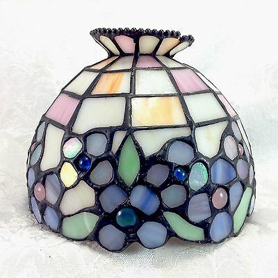 Stained Glass Shade Flowers Floral Purple Green Yellow Tiffany Style