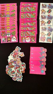 Vintage Lot of 300 Gummed Christmas Seals Stickers Tags RETRO PINK