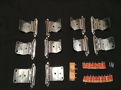Lot of 10 Vintage 1950's Amerock Chrome Cabinet Hinges with Screws