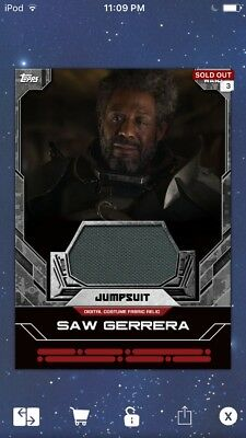 Topps Star Wars Digital Card Trader Saw Gerrera Jumpsuit Costume Relic Insert