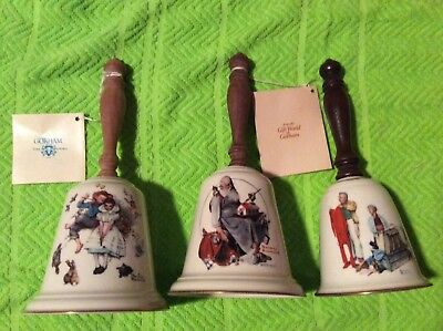 3 Norman Rockwell, LOVE'S HARMONY, SANTAS HELPER, CHILLY RECEPTION Gorham Bells