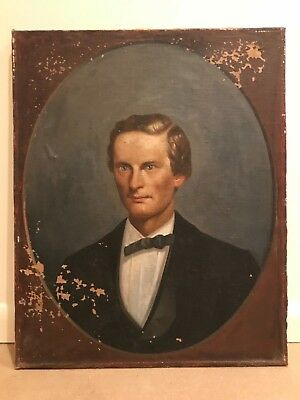 Antique 19th Century Portrait of a Man Gentleman Oil Painting Folk Art Primitive