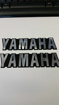 Yamaha Tank Badges Decals Engraved Routed Black And Brushed Chrome