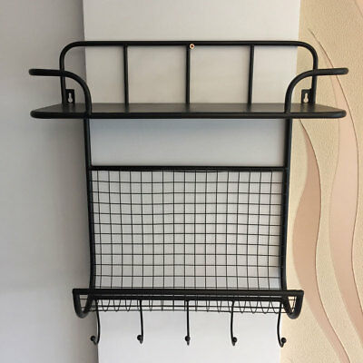 New Foldable Mail Letter Holder Key Rack Organizer for Entryway Wall Mount Black