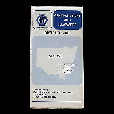 Vintage 1980s NRMA New South Wales CENTRAL COAST & ILLAWARRA foldout road map