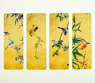 Pack of 8 large paper bookmarks of Chinese birds and flowers #B0017