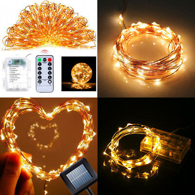 2M-50M LED String Lights Battery/Solar/Adapter 12V Copper Silver Wire Fairy Xmas