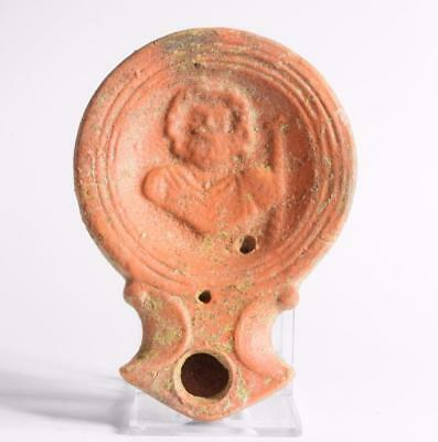 Roman 1st century oil lamp with Asclepius