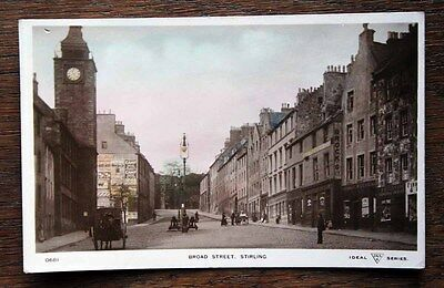 Early Photo Postcard Rp Scotland Broad Street Stirling Shops Horses Carts