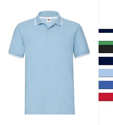 3er Pack Herren Poloshirt Fruit of the Loom Baumwolle S bis 3XL Tipped 63-032-0