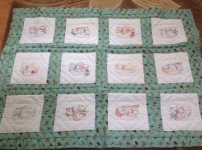 """VINTAGE BABY QUILT HAND EMBROIDERED KITTENS OR CATS 36"""" x 48'"""