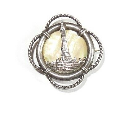 Vintage sterling silver, lifebelt shapped, small, brooch, of Blackpool tower.