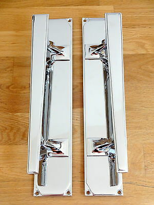 "1st PAIR LARGE 14"" CHROME ART DECO DOOR PULL HANDLES KNOBS PLATES FINGER PUSH"