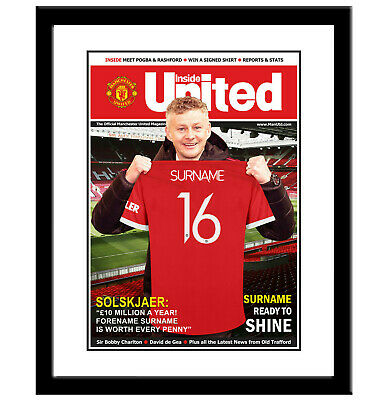 Personalised MANCHESTER UNITED Magazine. FRAMED. Man Utd Gift For Football Fan