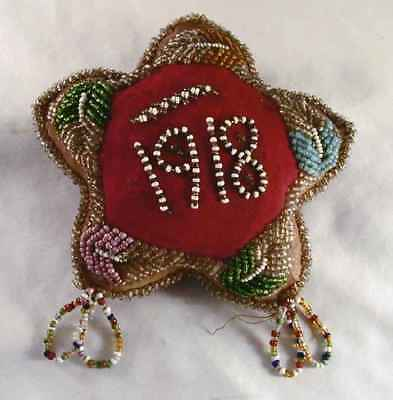 1918 Native American Stuffed Cloth Seed Beads Decorated Star Shaped Pincushion