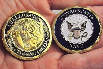 Shellback Crossing the Line Navy Challenge Coin Ceremonial Coin Pollywog US Navy