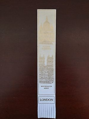 Vintage St. Paul's Cathedral Bookmark Westminster Abbey London White Gold