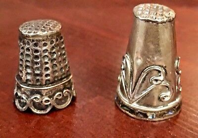 Two Sterling Thimbles Hand Hammered Mexico, one with Abalone Shell Band
