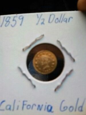 RARE 1859 California Fractional 1/2 dollar Gold.