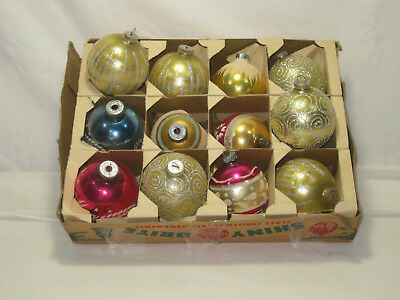 Lot Of 12  Vintage Glass Ball Ornaments Shiny Brite West Germany Usa