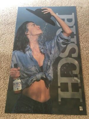 Busch Beer 1993 Cowgirl Denim Sexy Poster Backlit Translight Lighted Plastic