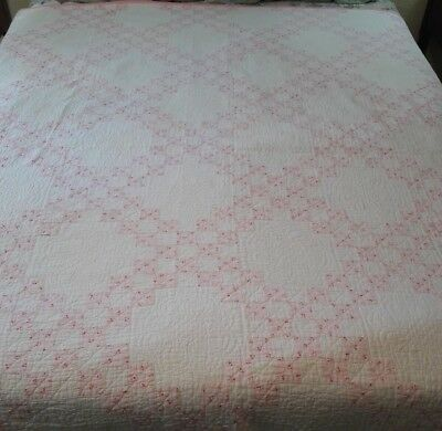 Double Irish Chain Hand Done Antique Quilt Pink / White