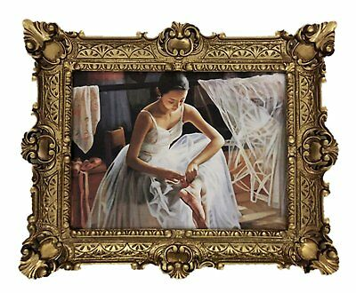 Beautiful Painting Pictures Baroque Antique Repro Frame Ballerina 56x46 cm Gold