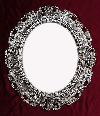 Wall Mirror Antiqued Silver Oval 45x38 cm Baroque Antique Repro Vintage 345 12