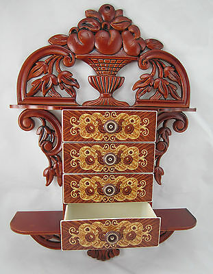 Console Table with Jewelry Box 45x32x8 Antique Baroque Repro 4 Drawers