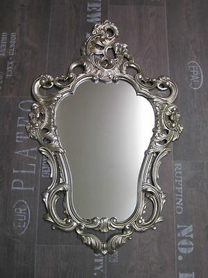 Baroque Mirror Wall Antique Repro Silver 50X76 Deco 118